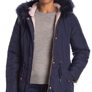 SEBBY Reversible Faux Fur Hood Puffer Jacket